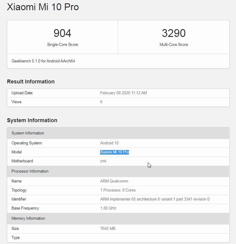 Xiaomi Mi 10 Pro в бенчмарке Geekbench