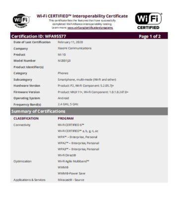 Xiaomi Mi 10 и Mi 10 Pro появились на сайте организации Wi-Fi Alliance
