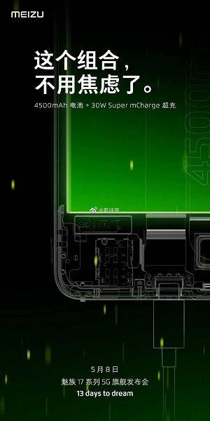 Meizu подтвердила параметры аккумулятора Meizu 17